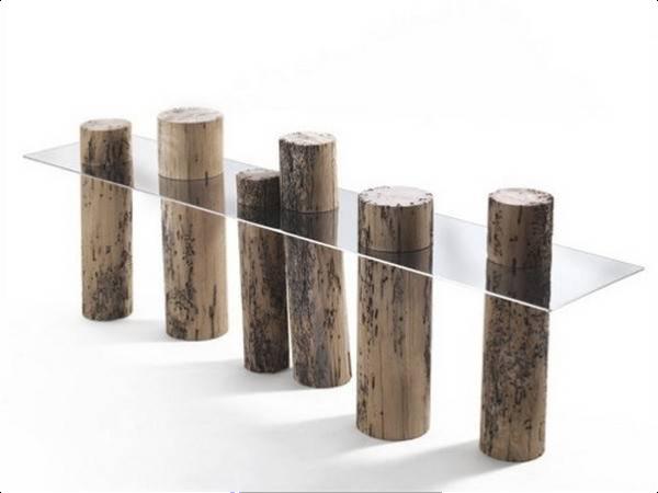 Διακοσμητικό με γυαλί και κορμούς ξύλου